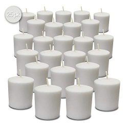 White Votive Candles – 25 Pack – Unscented, Extra Long 24 Hour Burn Time – for ...