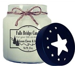 Falls Bridge Candles Green Clover & Aloe Scented Jar Candle, 16-Ounce, w/Star Lid