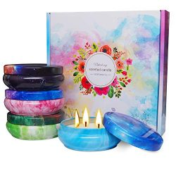 soyyla 3 Wick Scented Candle Gift Set, 4x5oz Natural Soy Wax Aromatherapy Portable Candles, Deco ...