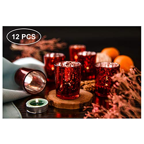 SUPREME LIGHTS ·2017· Mercury Glass Votive Candle Holders Set of 12, Tealight Holders Bulk, Spec ...