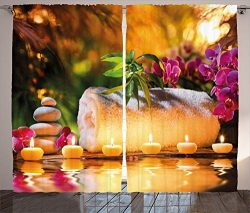 Ambesonne Spa Decor Curtains, Asian Classic Spa Joy in The Garden with Romantic Candles and Orch ...