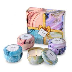 Aromatherapy Candles, Scented Candles Gift Sets for Women 6oz x 4 Pack Portable Travel Tin Candl ...