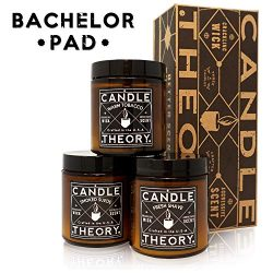 CANDLETHEORY Scented Man Candle Gift Set with Crackling Wood Wicks – 3 Scents – Warm ...