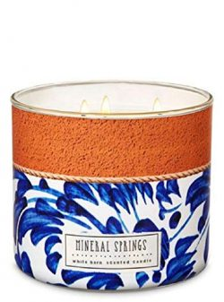 Bath and Body Works White Barn Mineral Springs Candle 14.5 Ounce 3 Wick Terracotta Tile Look