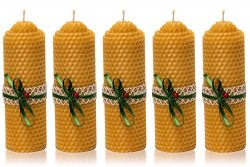 Completely Natural Handcrafted Set of 5 Organic Beeswax Candles by Size 5 inch – Yellow Ha ...