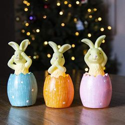 Easter and Spring Décor,Vanthylit Set of 3 LED Bunnies Figurine Statue Easter Candle Handmade wi ...