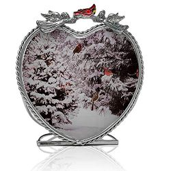 BANBERRY DESIGNS Cardinal Candleholder – Winter Scene with Red Cardinals in a Snowy Forest ...
