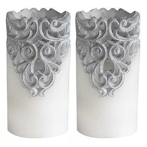 Eldnacele Flameless Christmas Silver Candles with 5H Timer, Flickering Real Wax Battery Operated ...
