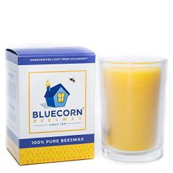 Bluecorn Beeswax 8oz 100% Pure Raw Beeswax Glass Candle (1, Clear)