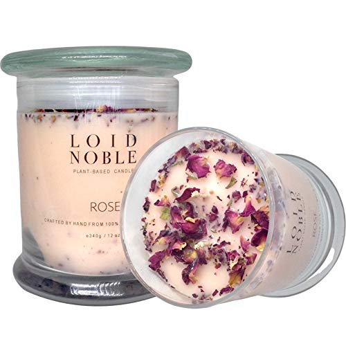 LOID NOBLE's Pure Rose Essential Oil Soy Wax Candle Blended with Organic Rose Petals | Str ...
