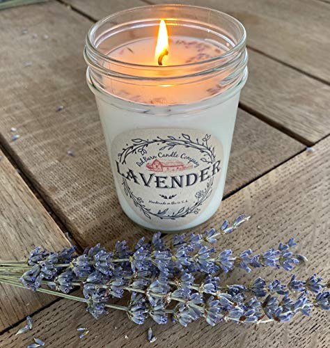 Lavender Aromatherapy Candle (8 oz) | All-Natural Soy Wax & Dried Flowers | Essential Oil In ...