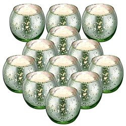 Rista Jade Votive Candle Holders, Mercury Glass Tealight Candle Holder Set of 12 for Home Decor  ...