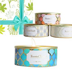 4 Gift Pack Floral Scented Candles for Love Women,(English Pear & Freesia, French Juniper&am ...