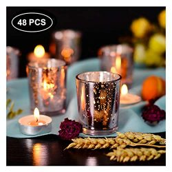 SUPREME LIGHTS ·2017· Mercury Glass Votive Candle Holders Set of 48, Tealight Holders Bulk, Spec ...