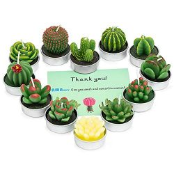 AMASKY Handmade Delicate Succulent Cactus Candles for Birthday Party Wedding Spa Home Decoration ...
