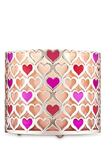 Bath and Body Works White Barn Hearts 3 Wick Candle Holder Sleeve