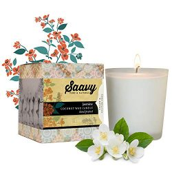 Saavy Naturals Coconut Oil Scented Candle | Organic Wax for Clean Burn, No Chemicals or Toxic Sm ...