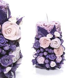 Purple Roses – Carved candle 100% handmade – – Perfect Birthday gift for Mom G ...