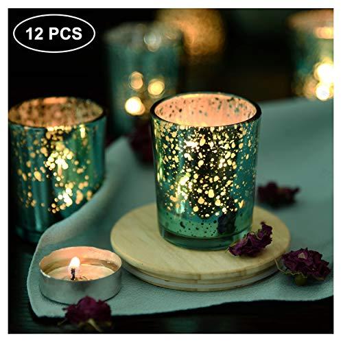 SUPREME LIGHTS ·2017· Mercury Glass Votive Candle Holders Set of 12, Tealight Holders Bulk, Spec ...