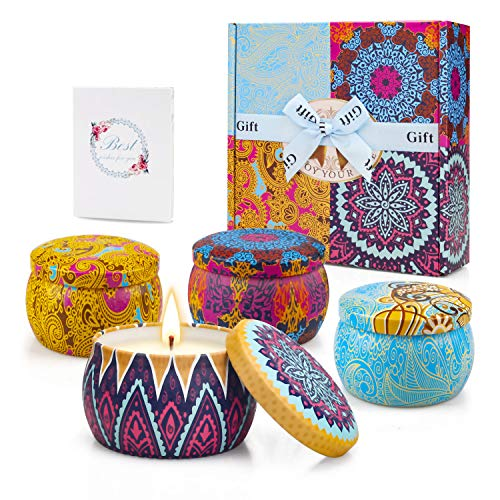 Scented Candles Set for Women Gifts on Mother's Day, Fragrant Soy Candles with Cute Packag ...