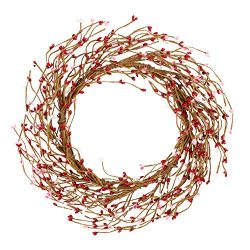 VGIA 14 Inches Artificial Spring Wreath Berry Wreath for Front Door Pip Berry Candle Rings for P ...