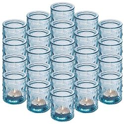 24-Pack Glass Vintage Candle Holders Votive Candle Wax Cups Tealight Holders – Ideal for T ...