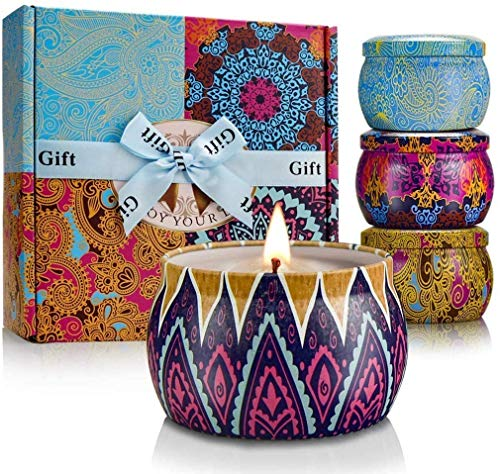 YINUO LIGHT Large Size Scented Candles Gifts Sets for Women, Natural Soy Wax Travel Tin Fragranc ...