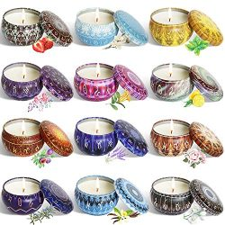 YYCH Scented Candles Soy Wax Tin Candles, Natural Fragrance Candles for Stress Relief and Aromat ...